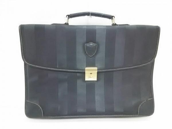 バレンチノマルディーニ ビジネスバッグ美品  黒 PVC(塩化ビニール)×レザー