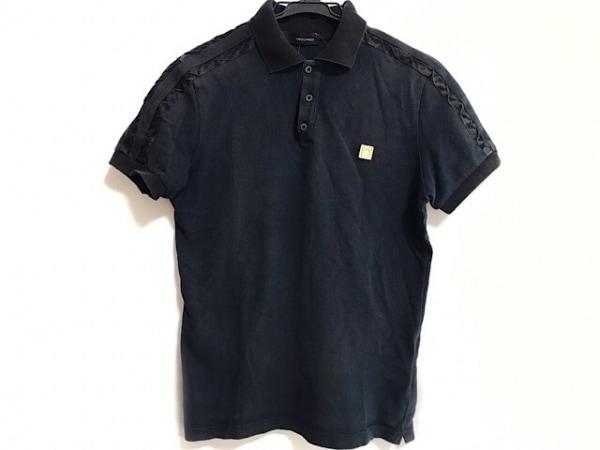 DSQUARED2(ディースクエアード) 半袖ポロシャツ サイズS メンズ ネイビー×黒