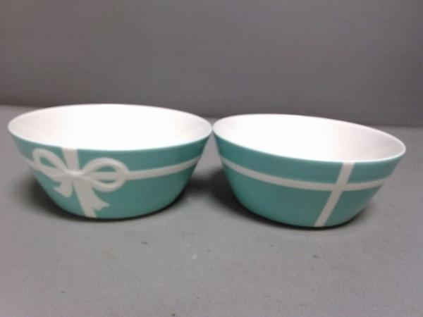 ティファニー 食器新品同様  ブルーボウ ライトブルー×白 ボウル×2 陶器