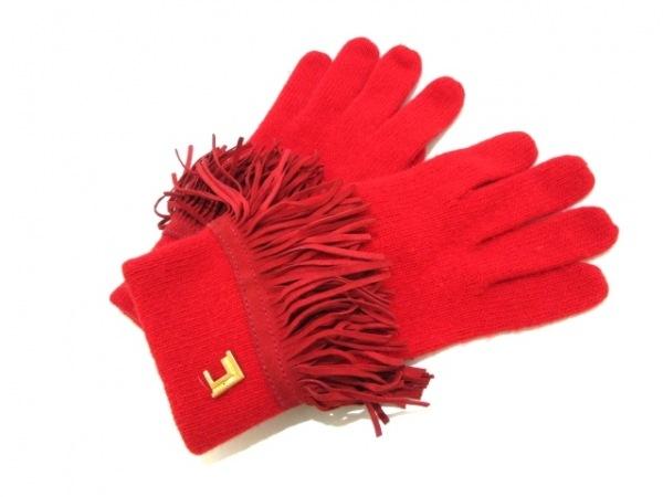 LesCopains(レコパン) 手袋 レディース美品  レッド ウール×アンゴラ×ナイロン