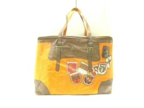 サンヒデアキミハラ ハンドバッグ オレンジ×ブラウン コーティングキャンバス