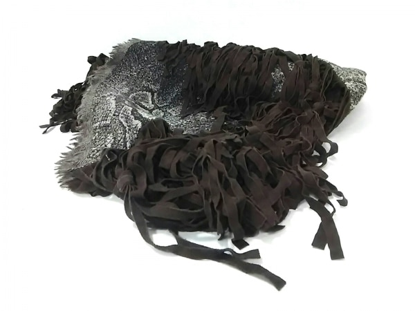 トラニ ストール(ショール)美品  黒×ベージュ×ダークブラウン フリンジ ウール