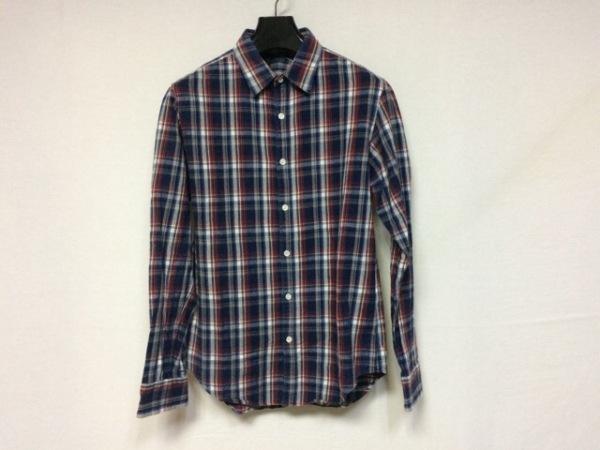 エヌハリウッド 長袖シャツ サイズ38 M メンズ美品  ダークネイビー×レッド×マルチ
