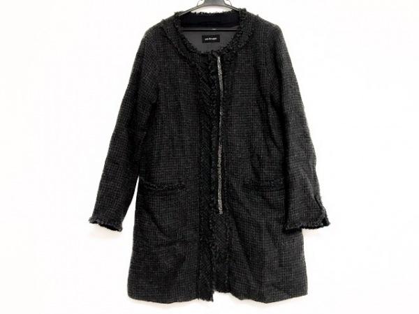 pas de calais(パドカレ) コート サイズ38 M レディース美品  黒×グレー ビーズ/冬物