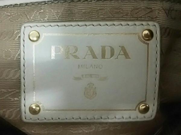 PRADA(プラダ) トートバッグ ロゴジャガード グレージュ×アイボリー リボン