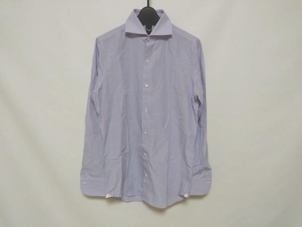 finamore(フィナモレ) 長袖シャツ サイズ39 メンズ ブルー×レッド ストライプ
