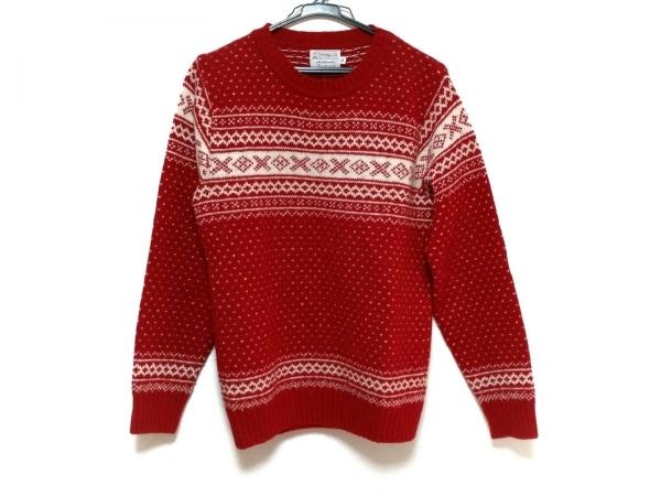 インバーアラン 長袖セーター サイズ36 S メンズ美品  レッド×アイボリー