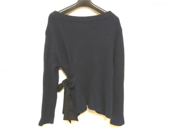Rose Tiara(ローズティアラ) 長袖セーター サイズ46 XL レディース ネイビー×黒