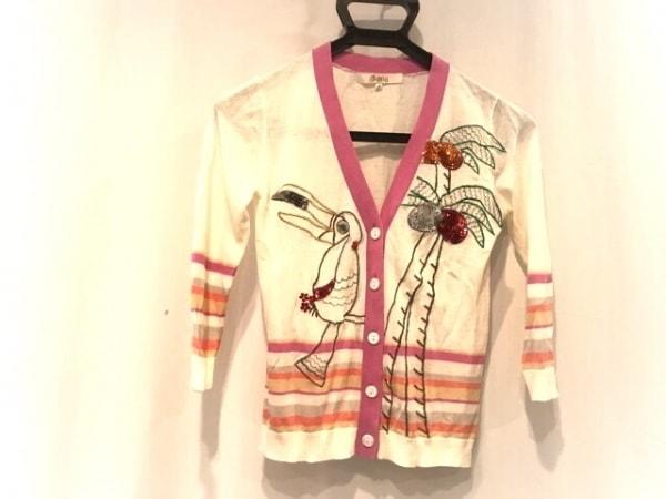 チェスティ カーディガン サイズF レディース 白×ピンク×マルチ 刺繍/スパンコール