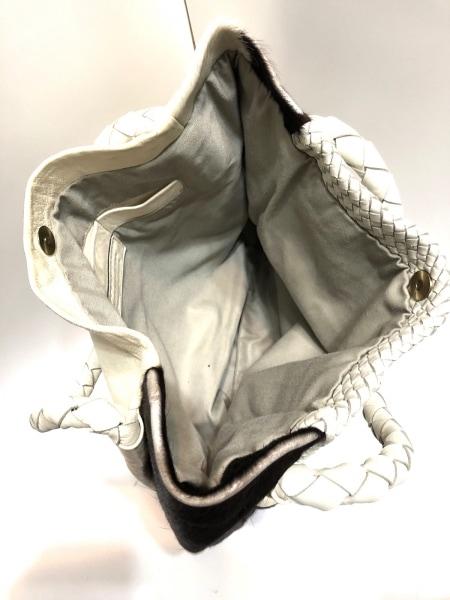 CLARAMONTE(クララモンテ) トートバッグ 白×ダークブラウン 編み込み レザー×ハラコ