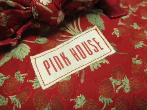 ピンクハウス トートバッグ レッド×グリーン×白 リボン/キルティング/花柄 コットン