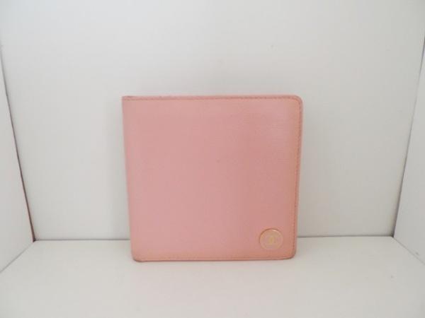 14ff8dc4eec2 CHANEL(シャネル) 2つ折り財布 ココボタン ピンク レザー