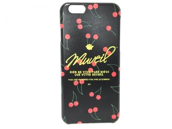 ミュベール 携帯電話ケース 黒×レッド×マルチ チェリー/iPhone6ケース プラスチック