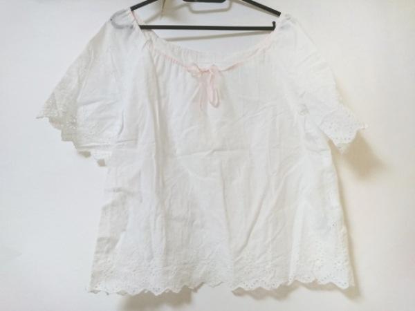 ドゥーズィエム 半袖カットソー レディース美品  白×ピンク リボン/刺繍