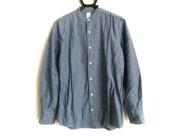 finamore(フィナモレ) 長袖シャツ サイズ15/38 メンズ ライトブルー×ネイビー スター