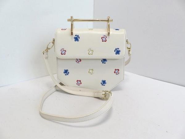 furfur(ファーファー) ハンドバッグ アイボリー×ゴールド 花柄/刺繍 合皮×金属素材
