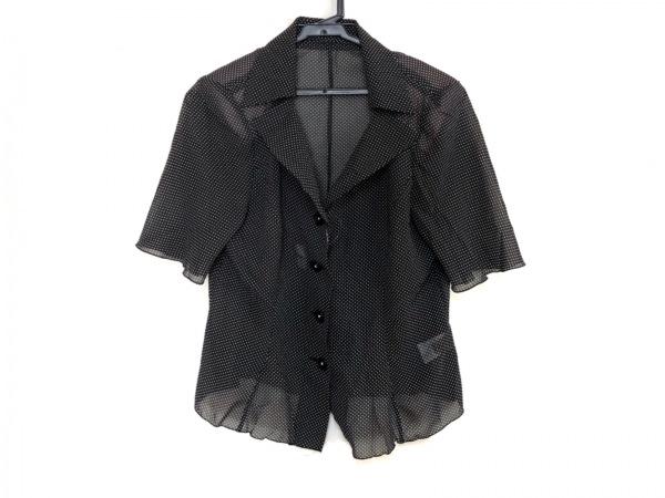 YUKIKO HANAI(ユキコハナイ) 半袖シャツブラウス サイズ10 L レディース美品  黒×白