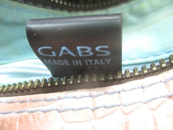 GABS(ガブス) ハンドバッグ ピンク×ダークブラウン 型押し加工 レザー×ウール