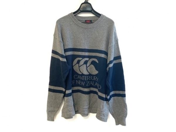 カンタベリーオブニュージーランド 長袖セーター サイズM メンズ グレー×ネイビー