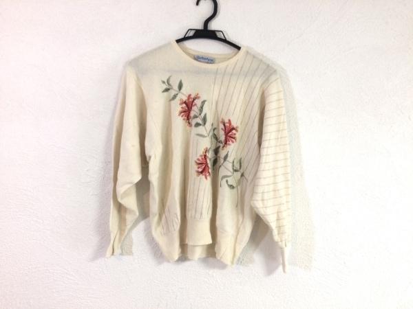 バランタイン 長袖セーター レディース アイボリー×ベージュ×マルチ 花柄/カシミヤ