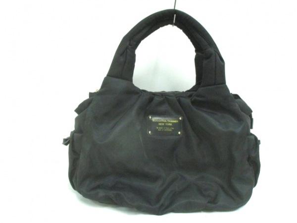 サマンサタバサニューヨーク ハンドバッグ美品  黒 リボン ナイロン×レザー