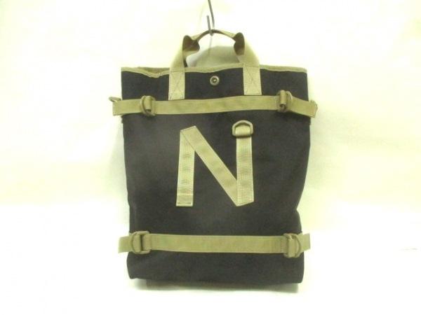 narifuri(ナリフリ) トートバッグ美品  黒×ダークグリーン ナイロン