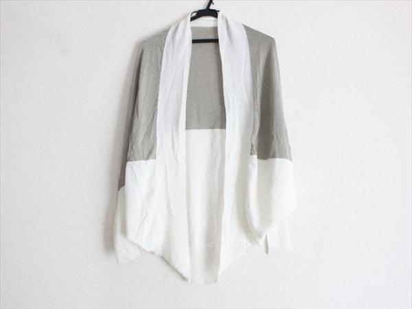 ミスアシダ 長袖カットソー サイズM レディース美品  白×グレーベージュ