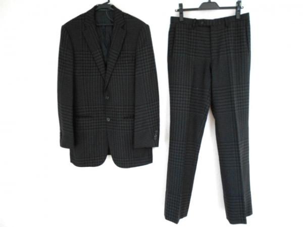 E.Z BY ZEGNA(ゼニア) シングルスーツ サイズ48 XL メンズ 黒×ダークグレー 千鳥格子