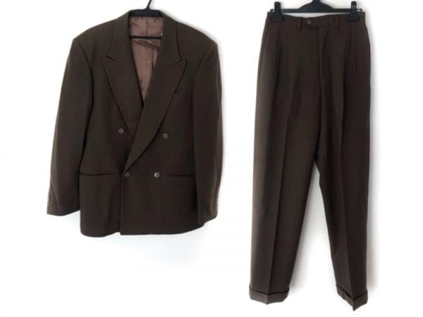 スタジオ フェレ ダブルスーツ サイズ48 XL メンズ ダークブラウン 肩パッド