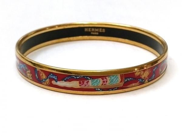 HERMES(エルメス) バングル エマイユ 金属素材 レッド×ゴールド×マルチ