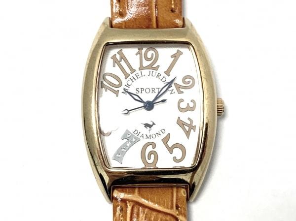 ミッシェルジョルダン 腕時計 SL1100 レディース 型押し加工 アイボリー