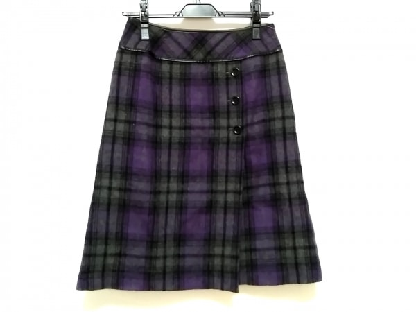 レリアン スカート サイズ9 M レディース パープル×黒×ダークグレー チェック柄