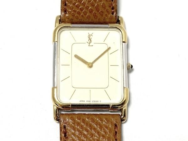 サンローラン 腕時計美品  2720-272897Y レディース 型押し革ベルト アイボリー