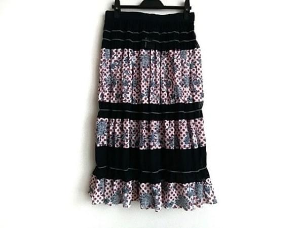 カラー ロングスカート サイズ2 M レディース ネイビー×白×レッド シースルー