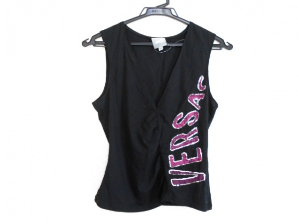 ヴェルサーチジーンズ ノースリーブカットソー サイズXS レディース 黒×ピンク
