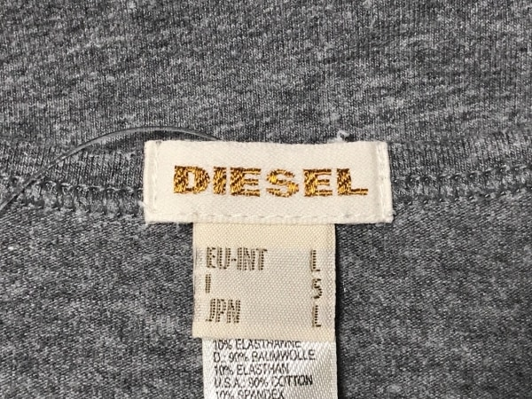 DIESEL(ディーゼル) タンクトップ サイズL メンズ グレー×黒