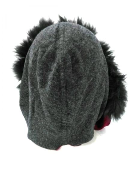 LANVIN(ランバン) 帽子 ダークグレー×レッド ファー コットン