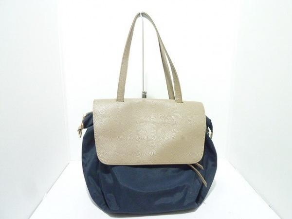 Sentore Amaranto(セントレアマラント) ハンドバッグ 黒×ベージュ ナイロン×レザー