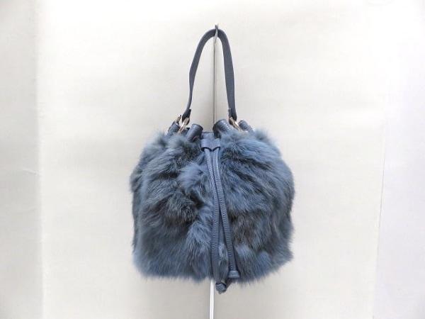 GIANNI NOTARO(ジャンニノターロ) ハンドバッグ ブルー 巾着型 レザー×ラビット