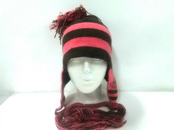 ヴィヴィアンウエストウッドアクセサリーズ ニット帽美品  ダークブラウン×ピンク