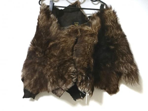 オーウェンバリー ポンチョ レディース美品  ブラウン Sheepskin and Leather