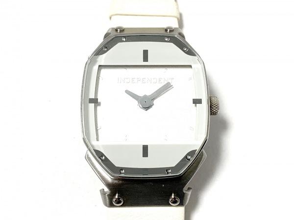 INDEPENDENT(インディペンデント) 腕時計美品  2530-003249-02 メンズ 革ベルト 白