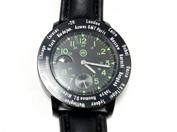 ムーブメントインモーション 腕時計美品  - メンズ 革ベルト 黒×ライトグリーン