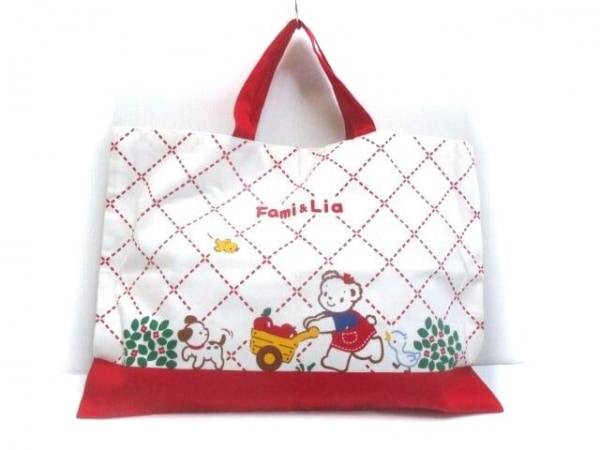 familiar(ファミリア) トートバッグ美品  白×レッド×マルチ コットン