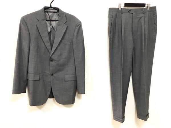 ゴタイリク シングルスーツ サイズ6L メンズ ライトグレー×白 ストライプ/ネーム刺繍