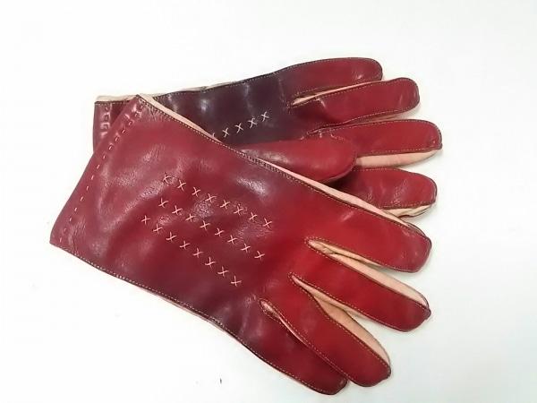 23区 HOMME(ニジュウサンク オム) 手袋 メンズ レッド×アイボリー レザー