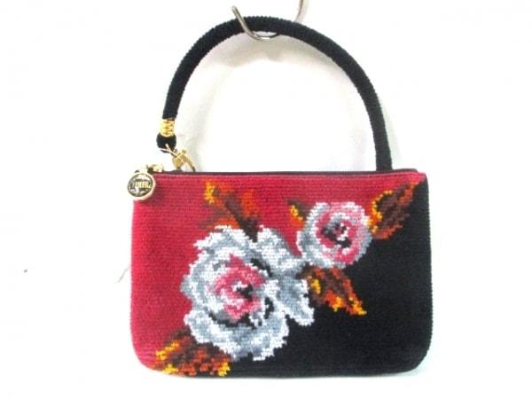 フェイラー ハンドバッグ 黒×レッド×マルチ 花柄/ミニサイズ パイル×化学繊維