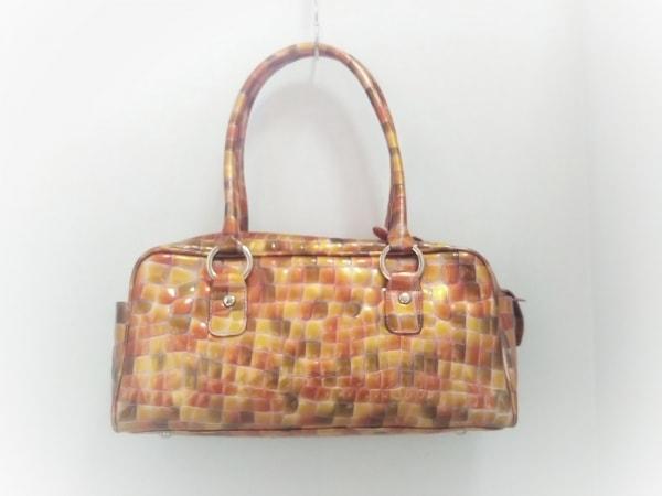 COCCO FIORE(コッコフィオーレ) ハンドバッグ美品  オレンジ×カーキ 型押し加工