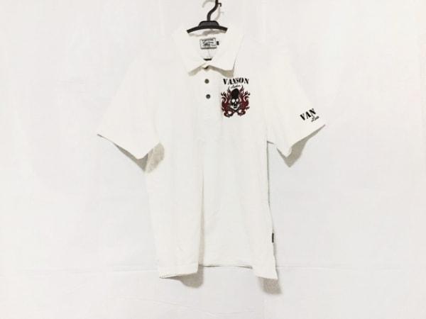 VANSON(バンソン) 半袖ポロシャツ サイズXL メンズ美品  白×黒×ボルドー スカル
