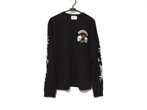 VANSON(バンソン) 長袖Tシャツ サイズXL メンズ美品  黒×白×ボルドー スター/スカル